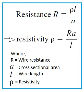 Wire resistivity calculator wire resistivity formula resistivity formula greentooth Gallery