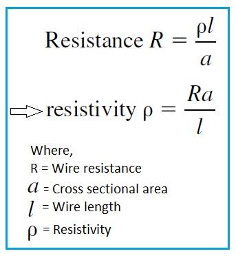 Resistivity Formula